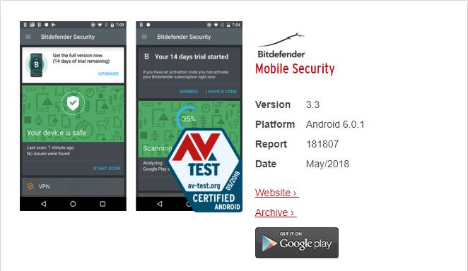 Bitdefender Mobile Security got full score 6/6 from AV-TEST