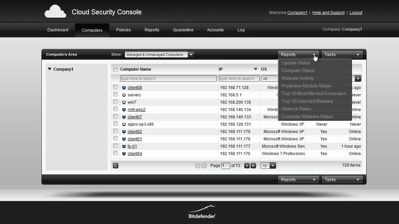 Bitdefender GravityZone (cloud console) Communication Ports