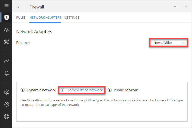 I can't access a device on my network: adding a network exception in Bitdefender 2018