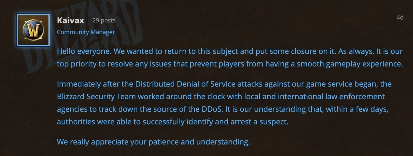WoW DDoS statement